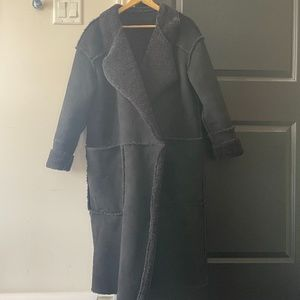 Zara black long shearling coat